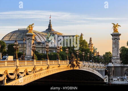 Paris, France - May 18, 2015 : Alexander III bridge  over the Seine in Paris between des Invalides and the Champs - Stock Photo