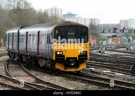 First Great Western class 150 diesel  train approaching Bristol Temple Meads station, UK - Stock Photo