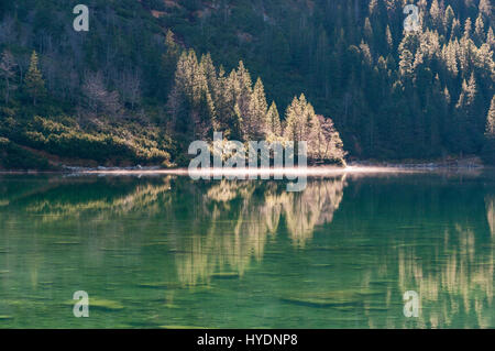 Morskie Oko mountain lake in the High Tatras in the morning. - Stock Photo