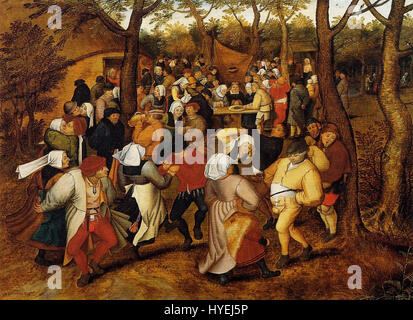 Pieter Brueghel the Younger   Peasant Wedding Dance (1623) - Stock Photo
