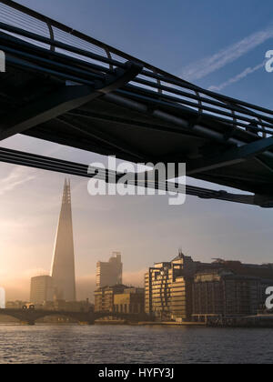 Sunrise over The Shard Building and River Thames, London. - Stock Photo