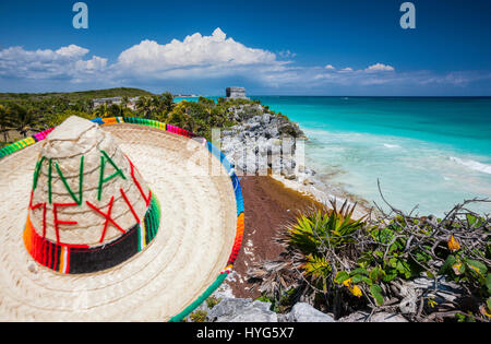 Sombrero and Mayan temple in Tulum, Mexico - Stock Photo