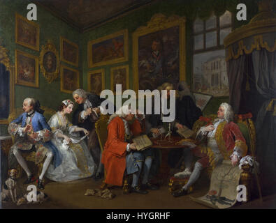 William Hogarth   Marriage A la Mode 1 The Marriage Settlement - Stock Photo