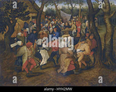 Outdoor Peasant Wedding Dance by Pieter Brueghel the Younger (1614) - Stock Photo