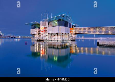 Nocturnal view of the Lisbon Oceanarium - Stock Photo