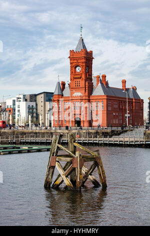 The Pierhead building, a grade 1 Listed building, part of the National Assembly of Wales building, Cardiff Dock, - Stock Photo