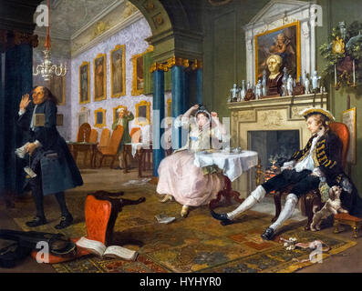 Hogarth painting. 'Marriage a-la-Mode: 2, The Tête à Tête' by William Hogarth (1697-1764), oil on canvas, c.1743. - Stock Photo
