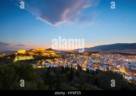 Acropolis in the city of Athens, Greece. - Stock Photo