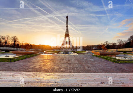 Sunrise in Paris, with the Eiffel Tower - Stock Photo