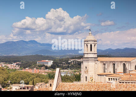 The Cathedral of St Mary of Girona, and a view to the Pyreneesl,  Girona, Catalonia, Spain. - Stock Photo