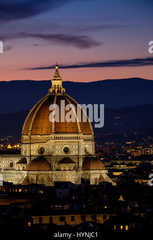 FLORENCE, ITALY - CIRCA MAY 2015:  Florence Cathedral,  Santa Maria del Fiore, known as The Duomo, at dusk as seen - Stock Photo