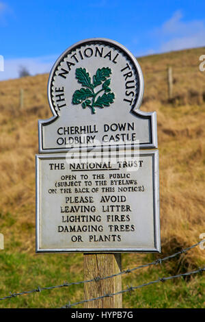 Cherhill Down Oldbury castle, National Trust sign, North Wessex Downs, Wiltshire, England, UK - Stock Photo