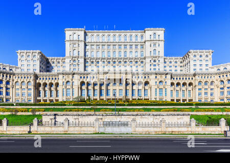 Bucharest, Romania. The Palace of the Parliament. The second largest building in the world. - Stock Photo