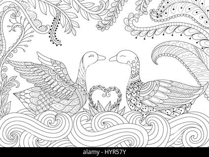 Dragon flying above Russian cathedral design for adult coloring book page. Vector illustration. - Stock Photo