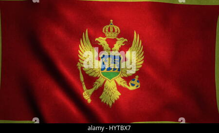 Realistic Ultra-HD flag of the Montenegro waving in the wind. Seamless loop with highly detailed fabric texture. - Stock Photo