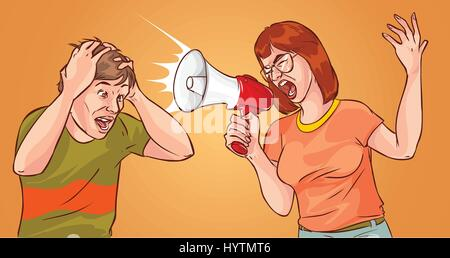 Young Woman Yelling Through Loud Speaker - Stock Photo