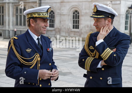 Fields of Battle, Lands of Peace Centenary Launch marking US entry to WW1. Naval military representatives. - Stock Photo
