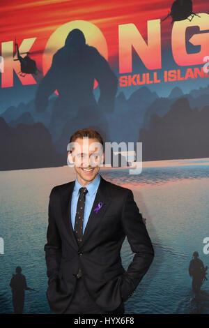 Los Angeles, CA, USA. 8th Mar, 2017. LOS ANGELES - MAR 8: Tom Hiddleston at the ''Kong Skull Island'' LA Premiere - Stock Photo
