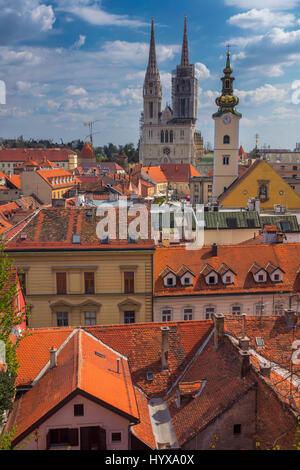 Zagreb. Cityscape image of Zagreb, Croatia during sunny spring day. - Stock Photo