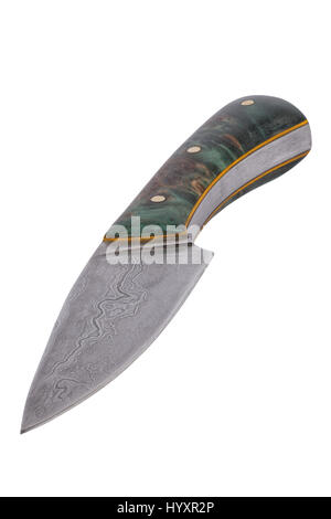 Hand-forged knife isolated on a white background - Stock Photo
