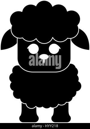 sheep cute animal cartoon icon image  - Stock Photo