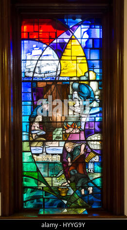 The Famine memorial stained glass window, City Hall, Belfast, County Antrim, Northern Ireland, UK - Stock Photo