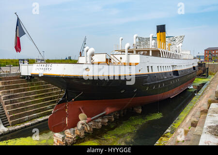 The SS Nomadic, a former tender of the White Star Line (launched 1911), Titanic Quarter, Belfast, County Antrim, - Stock Photo