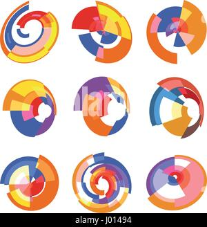 Isolated abstract colorful pie chart logos set, round shape diagram logotypes collection, infographic element vector - Stock Photo
