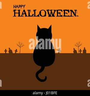 Happy Halloween with black cat sitting on ground in graveyard - Stock Photo