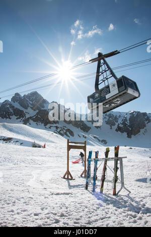 Courchevel 3 Valleys Les 3 Vallées French Alps Ski Resort Travel Mountains Snow Wintersports Tourism Skiing Holiday - Stock Photo