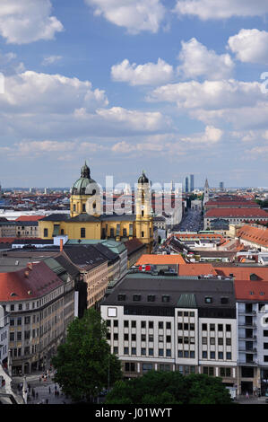View to the end of the Leopoldstrasse with the Theatinerkirche - Stock Photo
