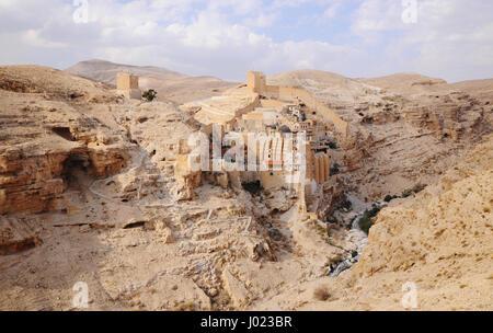 The Greek Orthodox Mar Saba Monastery in the Judean Desert east of Bethlehem (Israel) - Stock Photo