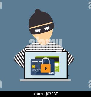 Criminal Hacker, Concept of Fraud, Cyber Crime. Vector Illustrat - Stock Photo