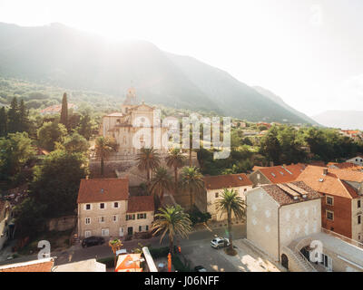 Prcanj, Montenegro The Bay of Kotor. Church of the Nativity of the Virgin. Aerial photography. - Stock Photo