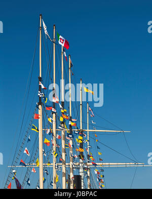 The flags and masts of SS Great Britain, Bristol. - Stock Photo