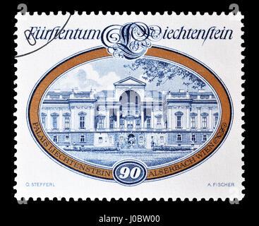 Cancelled postage stamp printed by Liechtenstein, that shows Castle, circa 1977. - Stock Photo