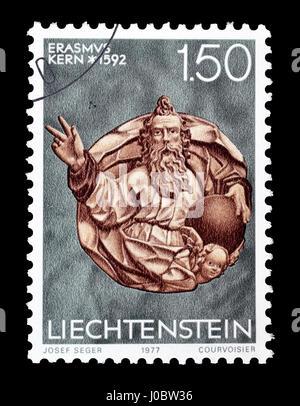 Cancelled postage stamp printed ba Liechtenstein, that shows sculpture, circa 1977. - Stock Photo