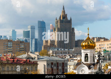 View of old and new skyscrapers, Moscow, Russia - Stock Photo