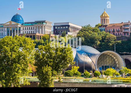Concert Hall and Exhibition Centre, Presidential Palace, Rike Park, Tbilisi, Georgia, Caucasus, Asia - Stock Photo
