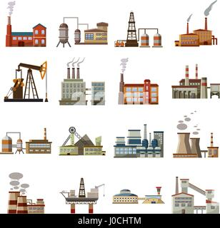 Factory icons set, cartoon style - Stock Photo