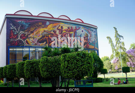 (UNAM), or (National Autonomous University) of Mexico City. 'La Conquista de la Energia' de Chavez Morado mural. - Stock Photo