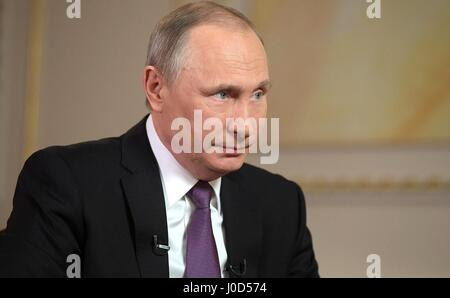 Moscow, Russia. 12th Apr, 2017. Russian President Vladimir Putin during an interview with Mir broadcasting company - Stock Photo
