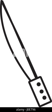 knife utensil picnic cooking outline - Stock Photo