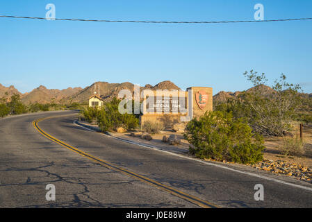 Entrance sign at Joshua Tree National Park, California, USA. - Stock Photo
