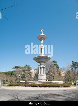 Fountain Parque Del Oeste, Madrid, Spain - Stock Photo