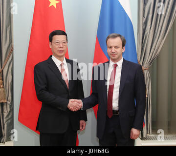 Moscow, Russia. 12th Apr, 2017. Chinese Vice Premier Zhang Gaoli (L) and his Russian counterpart Arkady Dvorkovich - Stock Photo