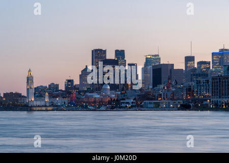 Montreal, CA - 13 April 2017: Montreal Skyline at sunset as seen from Parc Jean Drapeau - Stock Photo