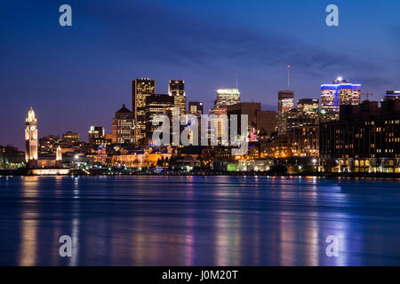 Montreal, CA - 13 April 2017: Montreal Skyline at night as seen from Parc Jean Drapeau - Stock Photo