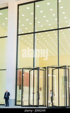 entrance area of office tower taunusturm in the financial district of frankfurt - Stock Photo