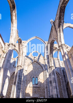 Convent of Our Lady of Mount Carmel (Portuguese: Convento da Ordem do Carmo) in Lisbon, Portugal - Stock Photo